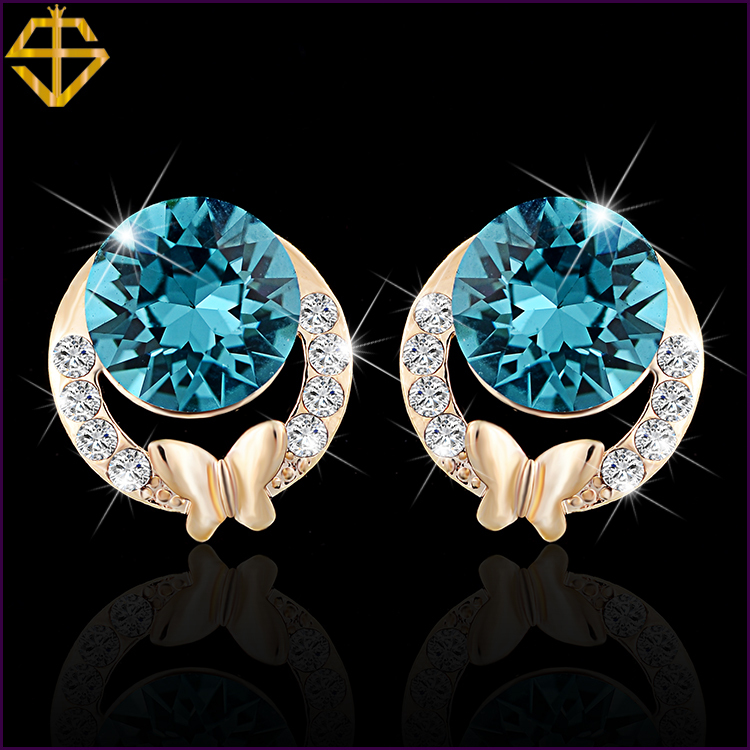 SI New Arrival Fashion Jewelry 18K Gold Plated Inlaid 3A CZ Stud Earrings For Women Valentine's Day gift(China (Mainland))