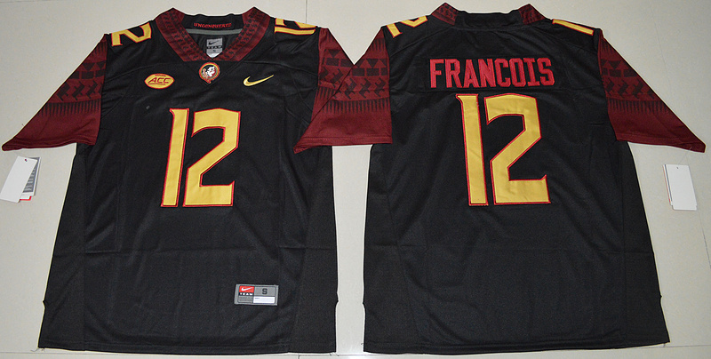 New Arrival High Quality Nike 2016 Florida State Seminoles Deondre Francois 12 College T-shirt Jersey - Black Size S,M,L,XL,2(China (Mainland))