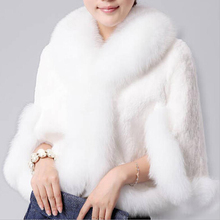 2015 Fur Faux Fur Coat Mink Hair Rex Rabbit Hair Cape Jacket Black And White Fur Overcoat Imitation Rabbit Fur Faux Fox Collar(China (Mainland))