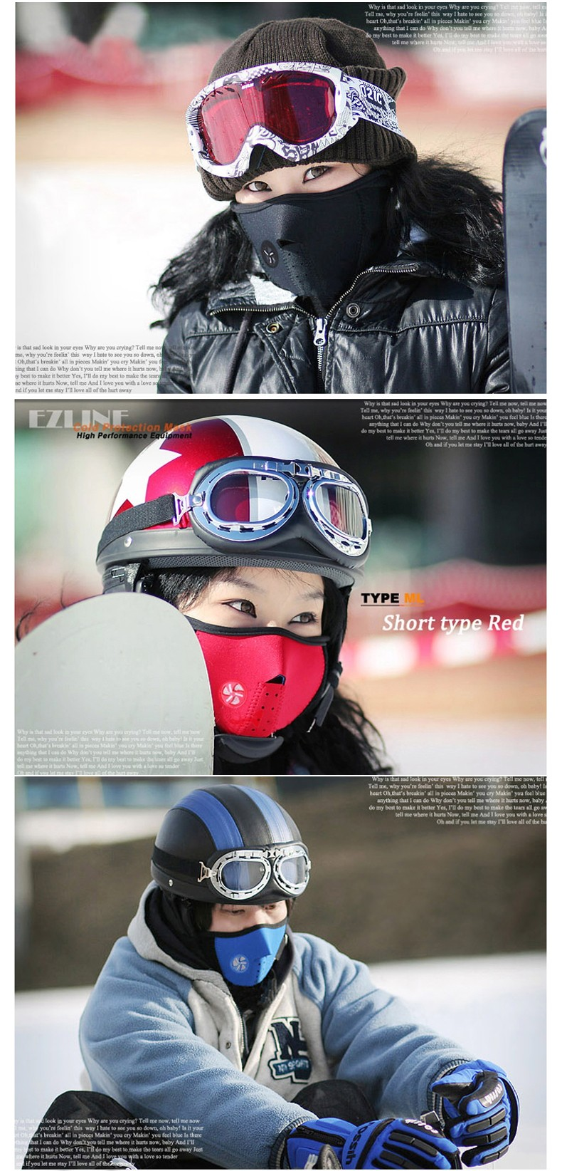 2016 New Arrival Winter Bike Motorcycle Bicycle Ski Snow Snowboard Sport Face Mask Windproof Cold Resist Neck Warm Skiing Bibs (7)