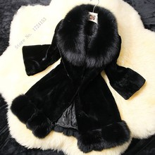 New Arrival Women's Winter Fashion Faux Fur Long Sleeve Long Coat Jacket Black