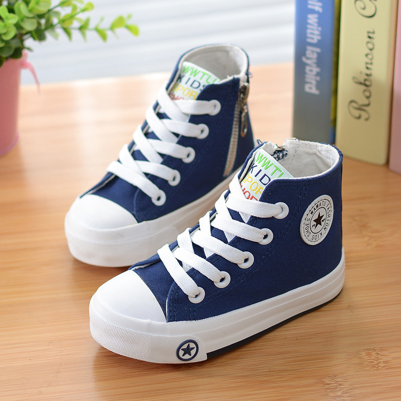 New Children Canvas Shoes Boys Girls White