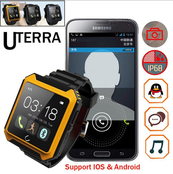 2015 Smart Watch mobile Uterra Bluetooth Watch  IP68 Waterproof Pedometer IPS Screen For outdoor sports watches android rejoles