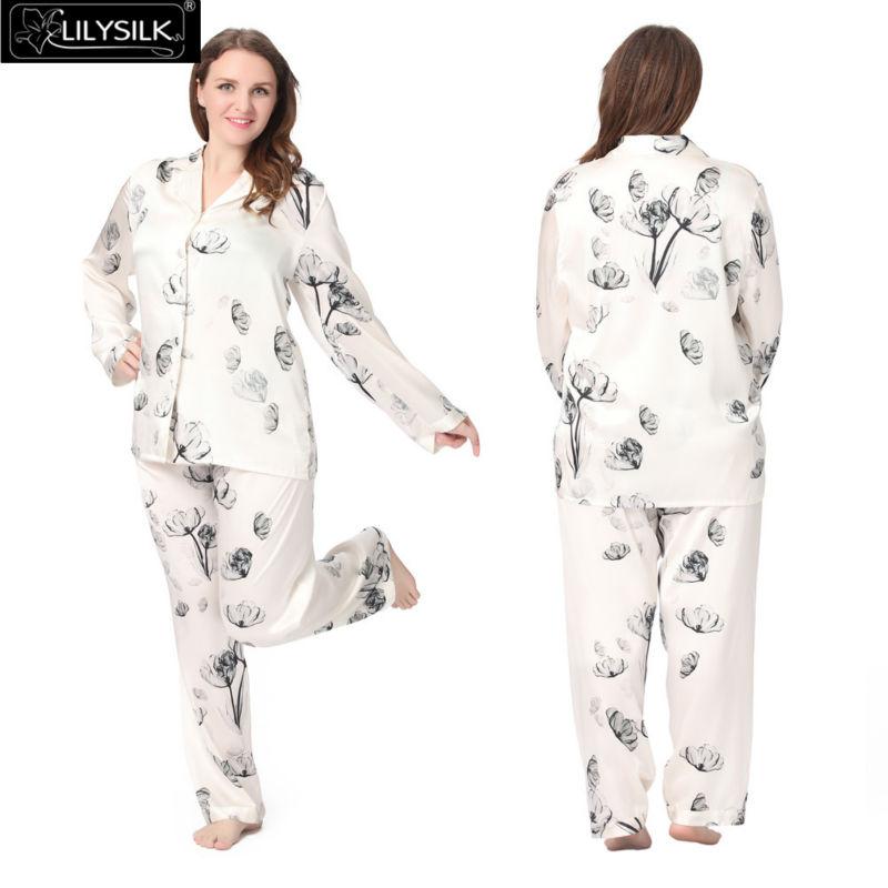 Lilysilk 100% Silk Pajamas Chinese Women Plus Size 19 Momme Long Sleeve Floral Lotus Satin Wedding Sleepwear Summer Brand New(China (Mainland))