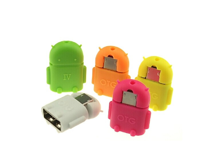 Android Micro USB To USB OTG Adapter 2.0 Converter For Samsung Galaxy S3 S4 S5 Robot Shape Tablet PC To Flash Mouse Keyboard