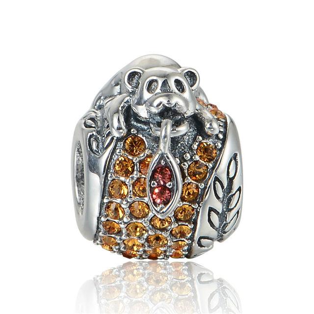 925 - серебристо-ювелирные бусины медведь на кристалл бусины Fit Chamilia пандора браслеты серебро 925 мода DIY