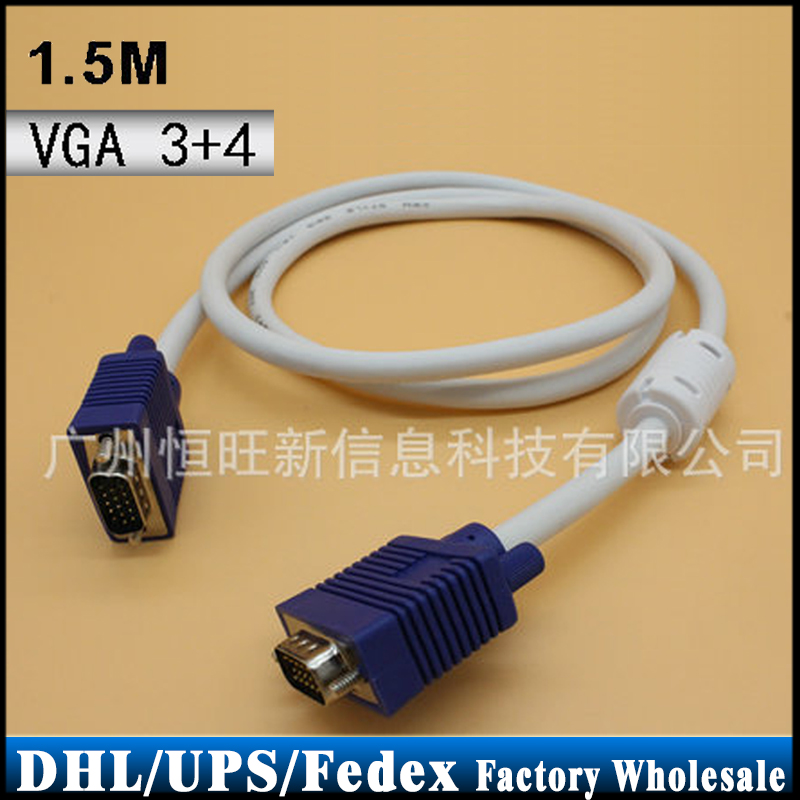 DHL/Fedex/UPS 200pcs/lot VGA 3+4 Monitor Male To Male Extension Video Cable Connects(China (Mainland))