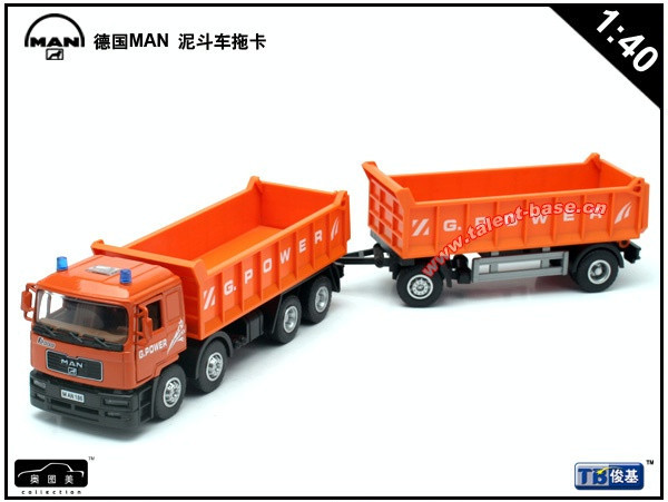 High Quality!! German Man Construction Mud Trolley Tug Trailer Truck 1:40 Alloy Vehicles Toys Gifts Models Collection(China (Mainland))
