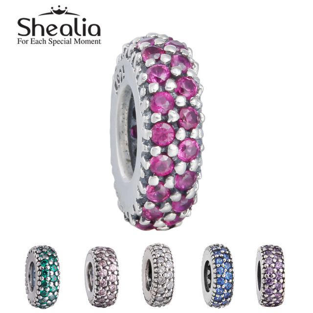 Подходит для пандора стиль браслеты diy подлинный стерлингового серебра 925 вымощают cz прокладка очарование бусины шесть цветов SHEALIA ювелирных изделий