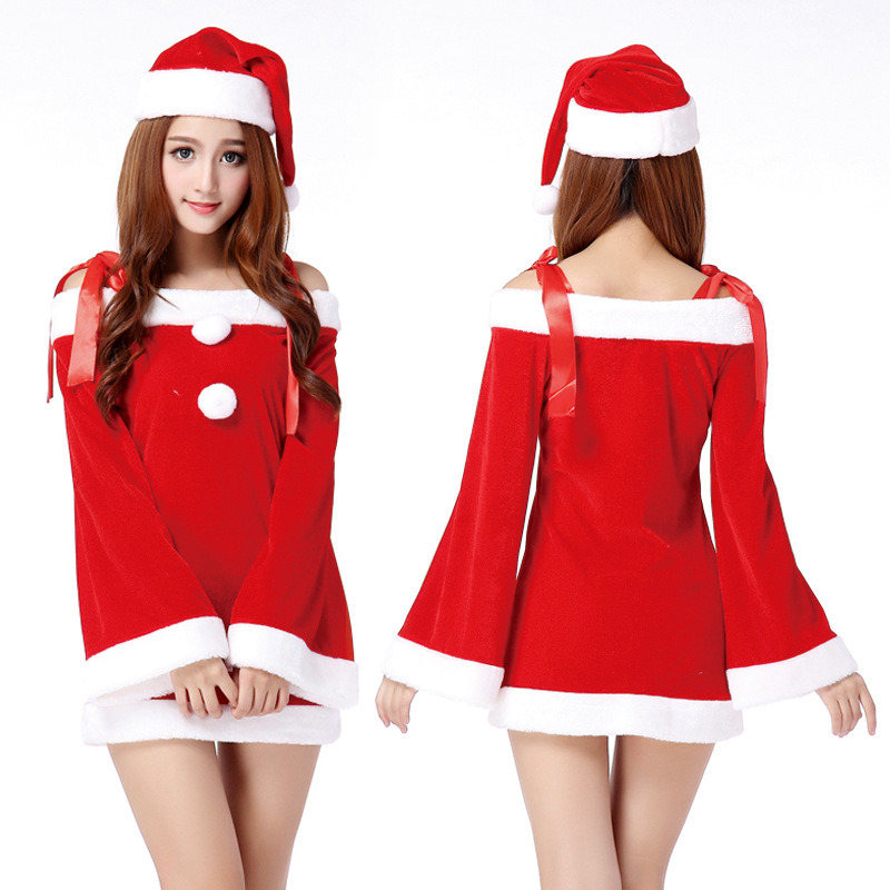 2015 Sexy Red Sleigh Hottie Long Sleeves Santa Costume Women Christmas Party Costume Including Red Santa Hat New Year One Size(China (Mainland))