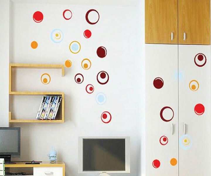 Colorful Circle Simple Style Vinyl Wall Stickers For Kids Rooms Home