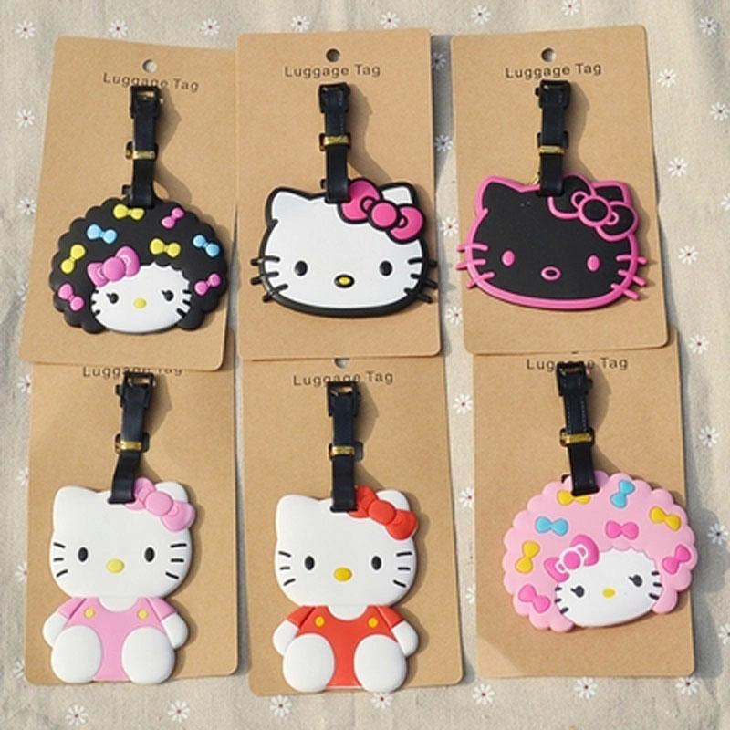 1pcs popular Hello Kitty Luggage tag Styles cartoon Hello kitty suitcase baggage tag cute travel bag tags(China (Mainland))