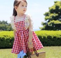 2017 Summer Little Girls Dresses Fly Sleeve Baby Clothes Princess Plaid Elastic Lace Child Kid s