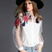 Blouses  ShirtsWomen shirts Blouses Fashion Blusas Organza Elegant shirts Plus Size Flower Embroidery Vintage tops free shipping(China (Mainland))