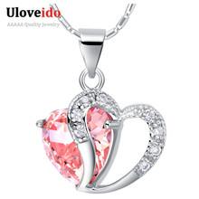 15% Скидка на Сердце Ожерелье Женщины 925 Серебряные Ожерелья для Женщин 2017 Кристалл Кулон Фиолетовый Розовый Синий Ювелирные Изделия Uloveido N673(China (Mainland))