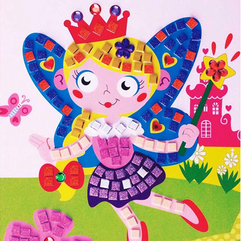 Hot Sale Drawing Toys 3D Crystal Mosaics Art Princess&Butterflies Sticker Game Craft Art Sticker FCI#(China (Mainland))