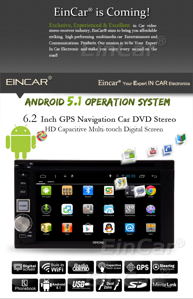Android 5.1 Car Radio Double 2 Din Stereo Car Multimedia Quad-core DVD Player Car GPS Navigation Mirror Link 3G WIFI USB SD