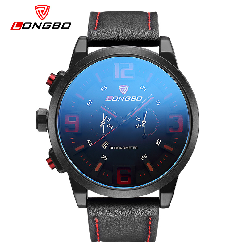 LONGBO Fashion Black Men's Watch Young Vibrant Design Male Sport WristWatch Blue Mineral Glass Dail Leather Waterproof Watches(China (Mainland))