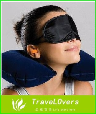 3 in1 Travel Set Inflatable Neck Air Cushion Pillow + eye mask + 2 Ear Plug  amenity kit