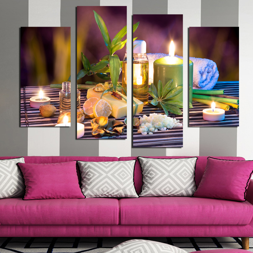 4 Panels leaves Candle Picture Canvas Print Painting Artwork Wall Art Canvas painting For Home Decoration Unframed F1774(China (Mainland))