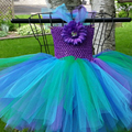 Cute Peacock Girl Tutu Dress Inspired Pageant Dresses for Little Girls Purple Turquoise Dress For Hallowen