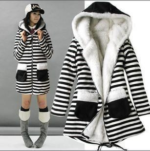 Spring/Autumn/Winter Maternity Thicken Coat,Fashion Striped Hooded Jacket,Pregnant women Cotton Wind breaker,Plus Size outerwear(China (Mainland))