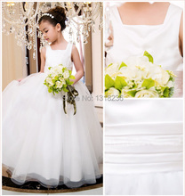 White Ivory Satin Flower Girl Dress