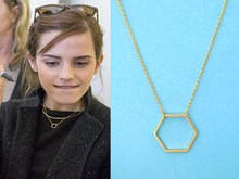 2012 New Geometric Gold and Silver Hexagon necklace for Women Simple Plain Long Chain Jewelry Necklace EY-N142