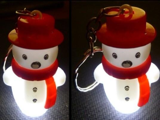 Simulation Snowman Mini  Light LED Flashlight  Key Chains Ring Keyrings Free shipping