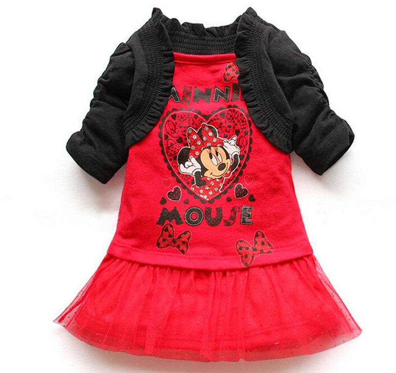 2016 New Mouse Skirt set Spring autumn girls clothing set tutu Dress + cape 2pcs set Long sleeve dresses children clothes(China (Mainland))