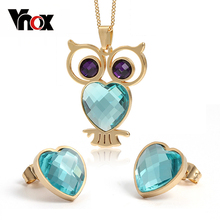 fashion owl jewelry sets for women 18k gold plated  stainless steel necklace earrings(China (Mainland))