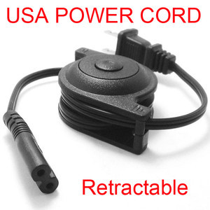 USA plug power supply retractable Cable 2-prong 2 Outlets Laptop Cord IEC320- C7(China (Mainland))