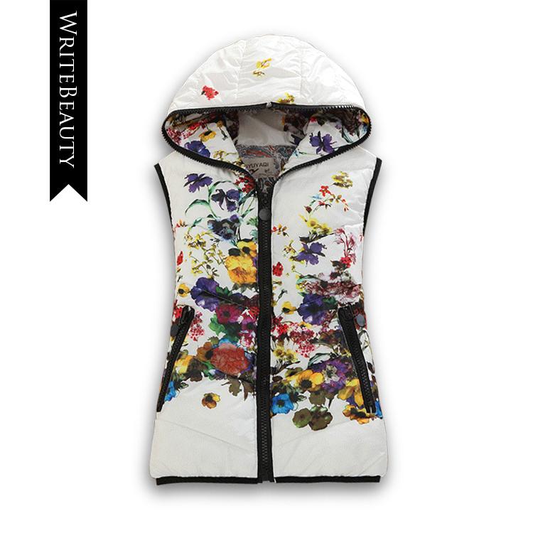 Genuine ladies vest jacket 2015 Winter Women Korean printing cotton vest short paragraph Slim Down Hooded Vest(China (Mainland))