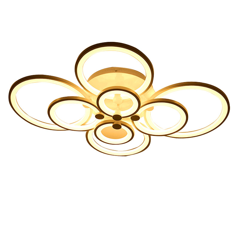 36W Led Lamp Modern Living Room Bedroom Ceiling Light Fixtures 6 Rings White Metal Acrylic Decoration Home lighting 220V(China (Mainland))