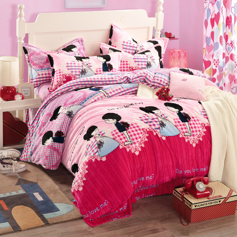 wedding comforter sets pink bed linen plaid bedding sets ropa de cama bed sheets kids comforters and quilts queen comforter sets(China (Mainland))