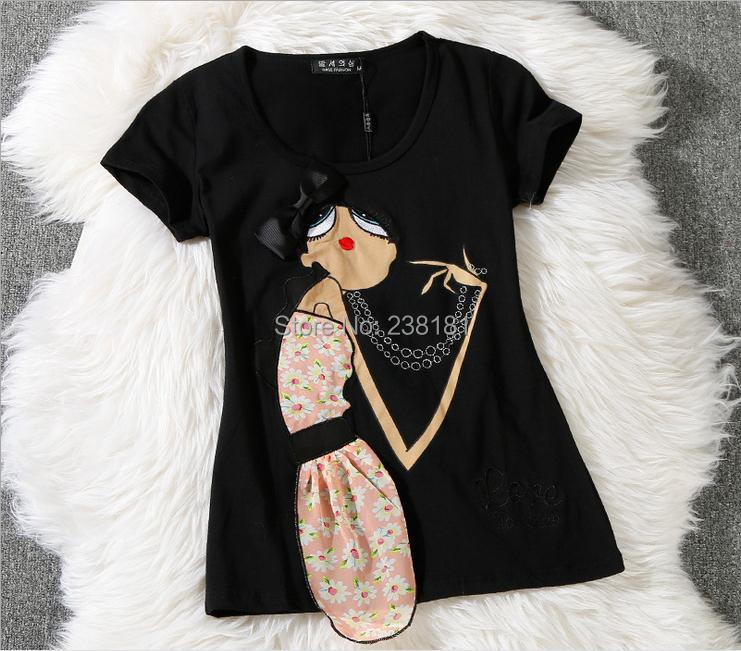 2015 summer style t shirt women tops short sleeve o-neck cartoon t-shirt cotton tees appliques cute tshirt camisetas mujer - Sunflower Fashion store