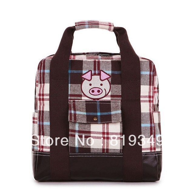 2013 NEW VANCL Women Cute and Fashionable Cartoon Print Front to Back Plaid Backpack Blue/Brown FREE SHIPPING