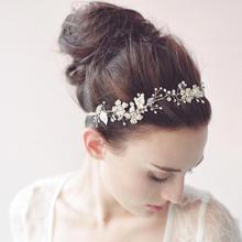 Il trasporto libero 2015 nozze sposa fascia di lusso bei cristalli pere handwear wedding accessori per capelli(China (Mainland))