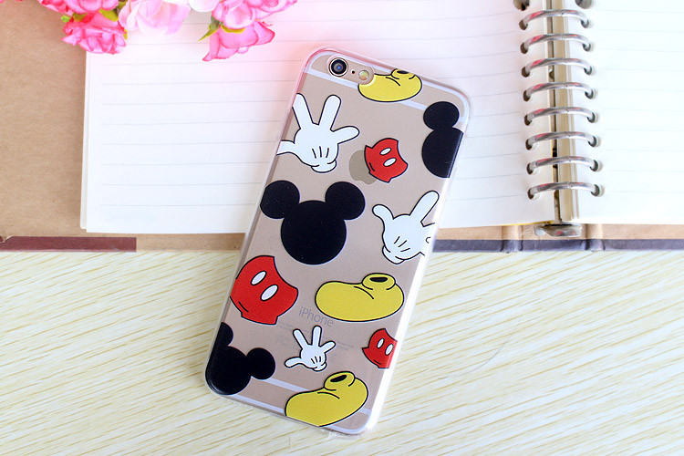 Hot Cartoon Mickey Minnie Mouse Kiss Couples Lovers Soft Clear TPU Silicone Back Cover Case for iPhone 6 6s 4.7 inch