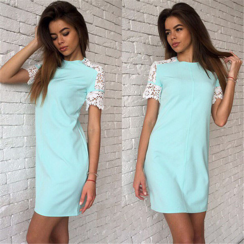 2016 New Arrival Summer Casual Style Women Dresses Sexy Lace Sleeve O-Neck Mini Party Dress(China (Mainland))