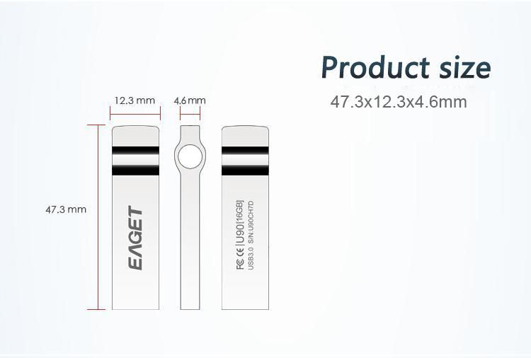 EAGET U90 USB three.zero Flash Drive Pendrive 32GB Extremely Quick Waterproof Memory Flash Stick Pen Drive Cle USB U Disk Key Ring Metallic