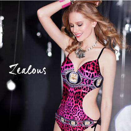 Pink Swimsuit 3D Print Leopard Diamond Sexy One Piece Monokini Triangl Vintage Swimwear Scrunch Bathing Suit For Women Push Up(China (Mainland))