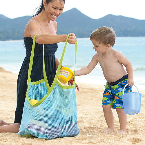 Free shipping extra large sand away beach mesh bag Children Beach Toys Clothes Towel Bags baby toy collection bag(China (Mainland))