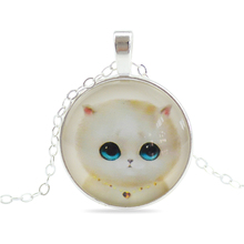 Fashion Jewelry Sweet Cat Glass Cabochon Pendants Necklaces Handmade Silver Plated Chain Necklaces