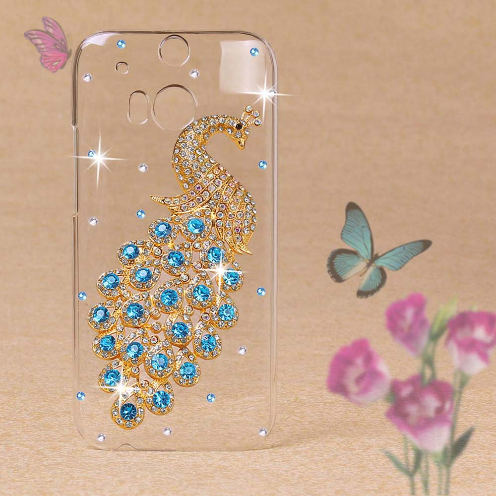 Luxury 3D Peacock Shining Diamond Plastic Clear Transparent Case for HTC M8 Hard Skin Case Crystal Case Cover For HTC One M8 Bag(China (Mainland))