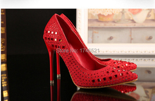 2015 European leg of the new fine pointed shoes with high heels red rhinestone bridal shoes h230(China (Mainland))
