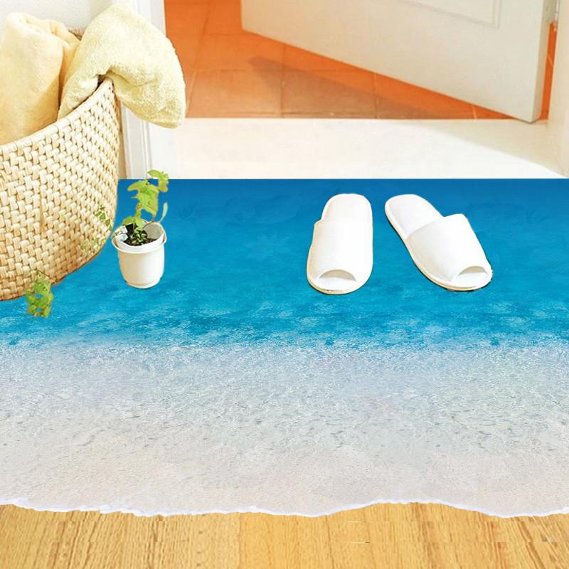 creative new design Blue Sea Sandy Beach Ocean World floor decor home decal wall sticker waterproof bathroom washroom poster(China (Mainland))