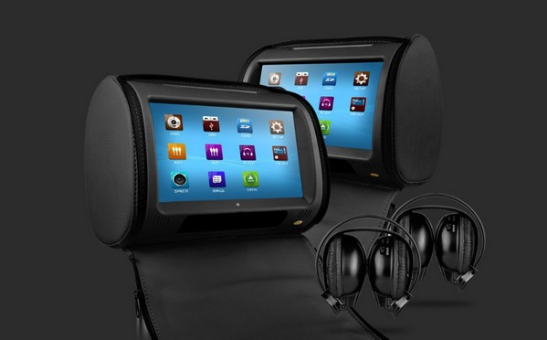 """Black 2x9"""" Touch Screen Car Headrest DVD Player with 2 IR Headphones 8 Bits & 32 Bits Games Black Color(China (Mainland))"""