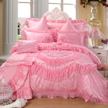 New arrival red cotton 100% married piece bedding set pink princess lace bedding multiple set(China (Mainland))