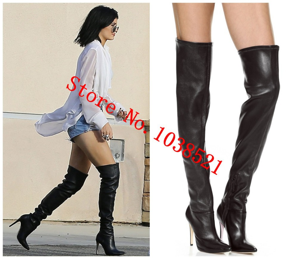 Fashion Thigh high Boots Sexy Over Knee High Gladiator Women Motorcycle Boots High Heels Women Boots Leather Boots Shoes Woman